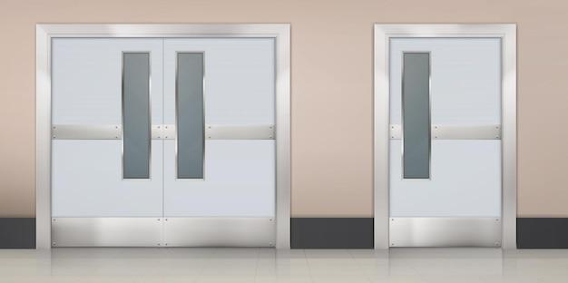 Pasillo vacío con puertas dobles a la habitación del hospital de laboratorio o interior realista de la cocina del restaurante del pasillo en el área de espera de la clínica médica o el vestíbulo con puertas metálicas al laboratorio