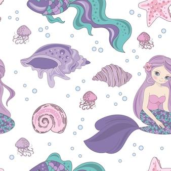 Pasion mermaid princesa patrón sin costuras
