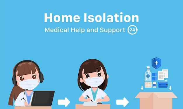 Paso de centro de llamadas en línea de farmacia para dispensar medicina carácter vectorial infográfico