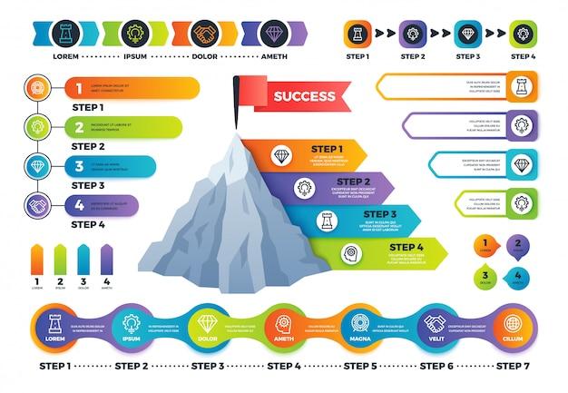 Paso infografía. gráfico piramidal con opciones de proceso, diagramas de información y línea de tiempo.