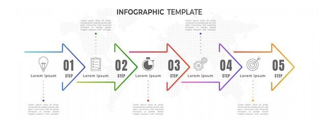 Paso mínimo de infografía de línea de tiempo de flechas