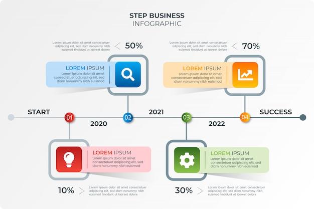 Paso moderno negocio infografía con icono