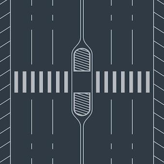 Paso de peatones blanco a través de la vista de la carretera desde la parte superior