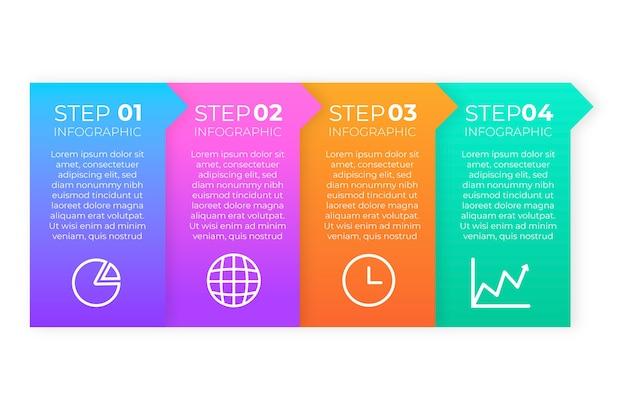 Pasos coloridos infografía