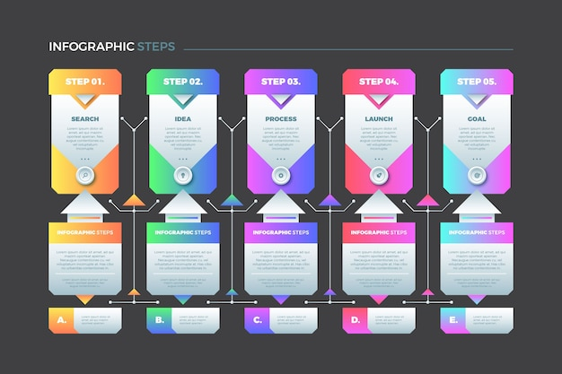 Pasos coloridos y opciones de colección de infografía