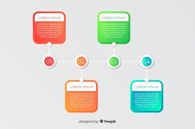 Pasos comerciales de infografía