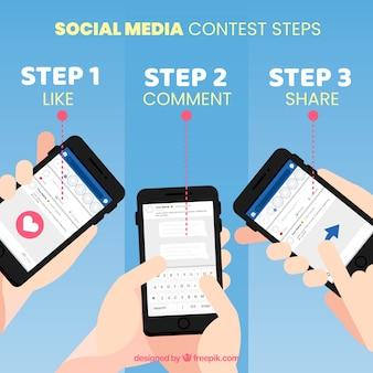 Pasos de concurso de redes sociales con diseño plano