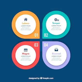 Pasos de infografía con colores en estilo plano