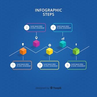 Pasos de infografía con vista isométrica