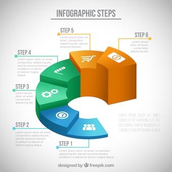 Pasos de infografía en diseño isométrico