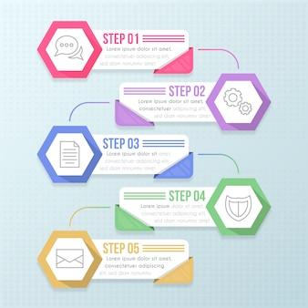 Pasos de diseño plano infográfico