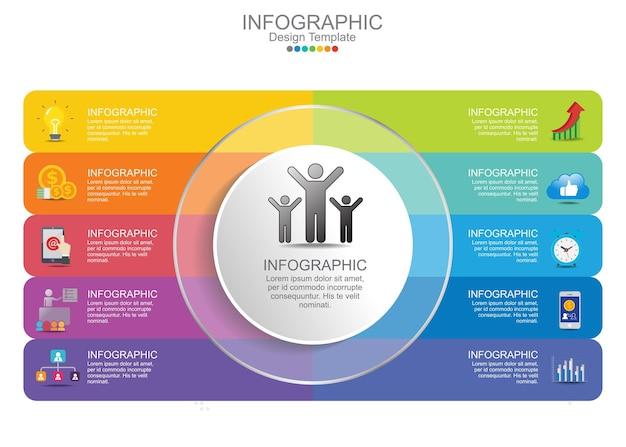 Pasos elementos de gráfico de infografías de negocios.