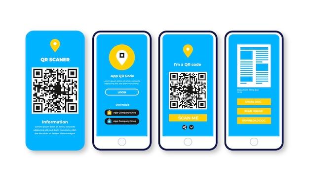 Pasos de escaneo de código qr en el diseño de teléfonos inteligentes