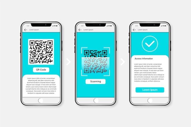 Pasos de escaneo de código qr en un teléfono inteligente