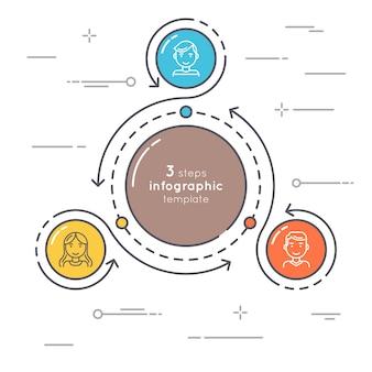 Pasos de estilo plano círculo plantilla de infografía. línea delgada busine