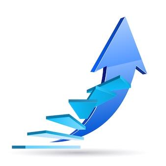 Pasos hacia el éxito, escaleras para beneficiarse en blanco