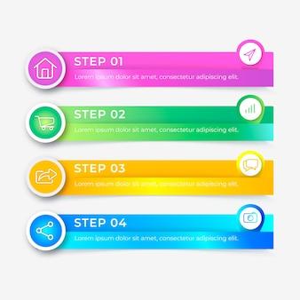 Pasos de gradiente de infografía