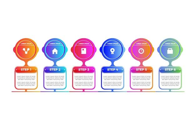 Pasos gradiente de plantilla de infografía