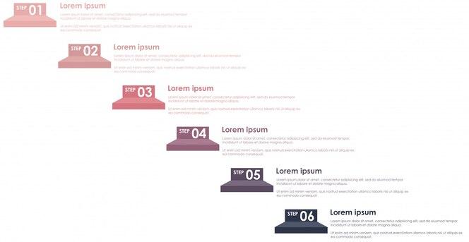 Pasos gráficos de información pastel color