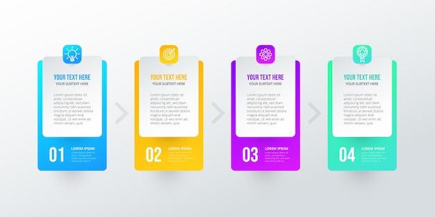 Pasos de infografía colorido