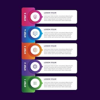 Pasos de infografía degradado colorido