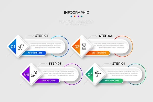 Pasos de infografía degradado