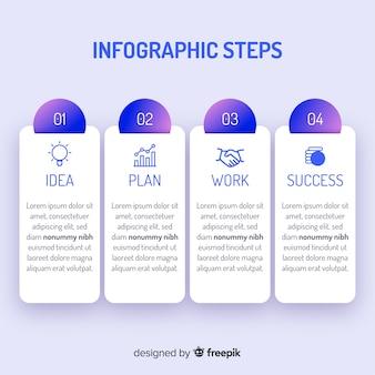 Pasos infografía degradados