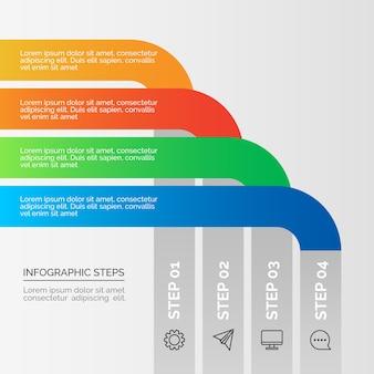Pasos de infografía empresarial en gradiente
