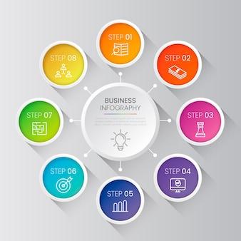 Pasos de infografía empresarial gradiente
