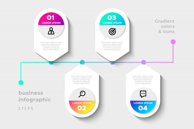 Pasos de infografía empresarial moderna con colores degradados