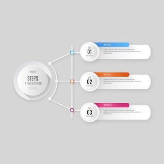 Pasos de infografía empresarial moderna con diseño colorido profesional