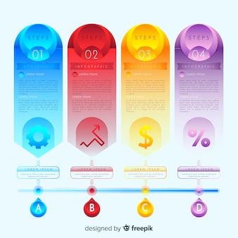 Pasos de infografía con estilo de degradado