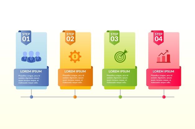 Pasos de infografía en estilo plano