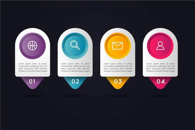 Pasos de infografía gradiente con cuadros de texto circulares de colores