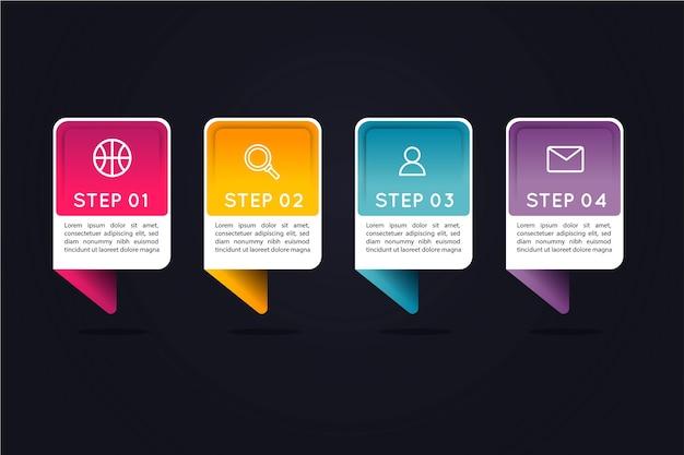 Pasos de infografía gradiente con cuadros de texto coloridos