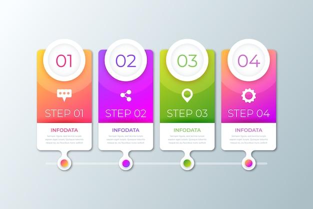 Pasos de infografía gradiente de negocios