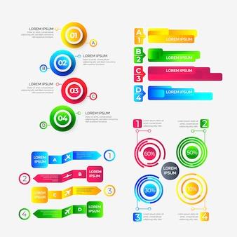 Pasos de infografía gradiente