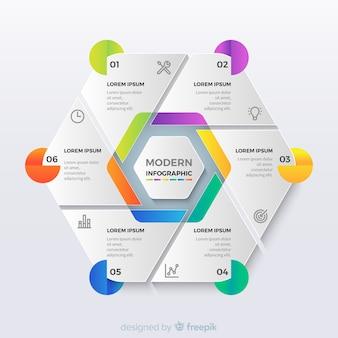 Pasos de infografía hexagonal de origami