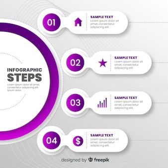 Pasos infografía planos con efecto degradado