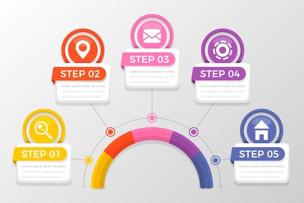 Pasos de infografía profesional plana