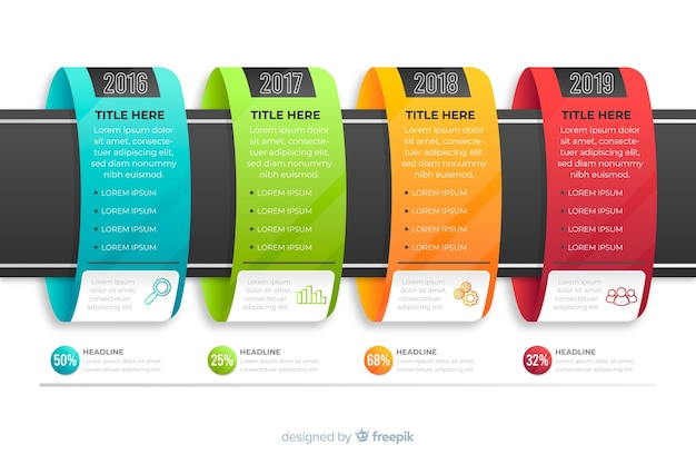Pasos de infografías coloridas modernas