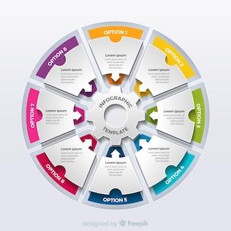 Pasos infográficos circular coloridos