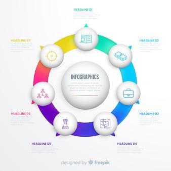 Pasos infográficos en un círculo