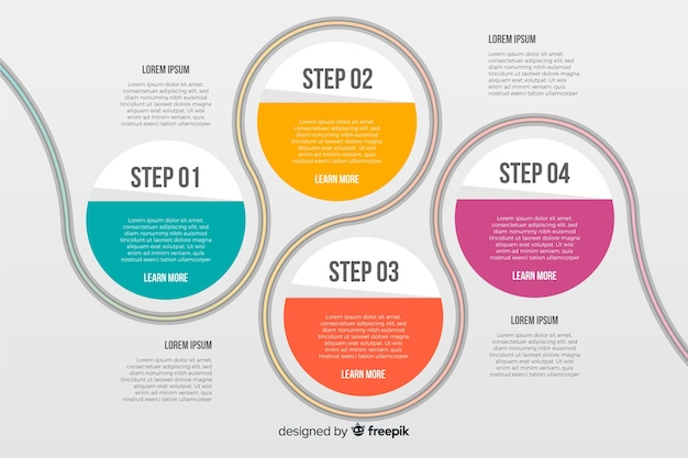 Pasos infográficos con círculos conectados