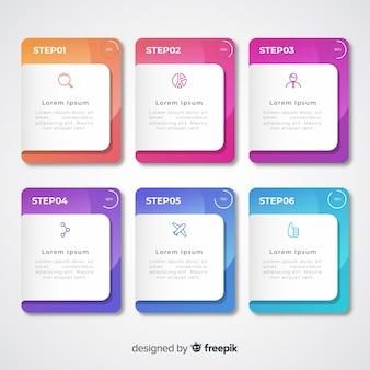 Pasos infográficos coloridos degradados con cuadros de texto