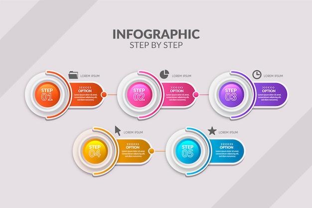 Pasos infográficos coloridos en gradiente