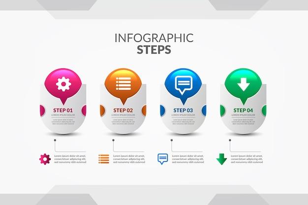 Pasos infográficos coloridos