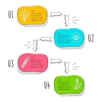 Pasos infográficos dibujados a mano
