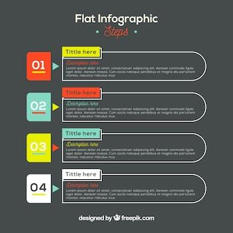 Pasos infográficos con diseño plano