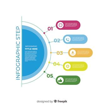 Pasos infográficos de diseño plano